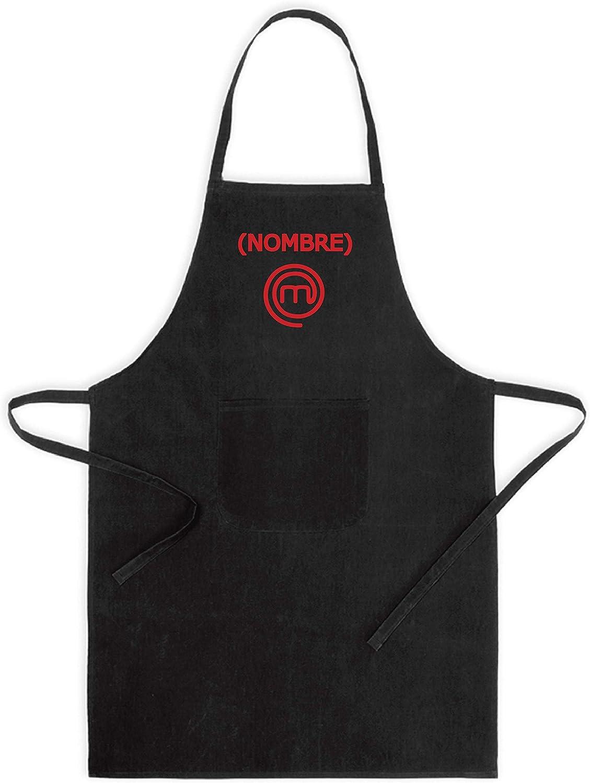 Delantal de Cocina Masterchef. Personalizado con TU Nombre. Poliester-Algodon Blanco o Negro (Negro)