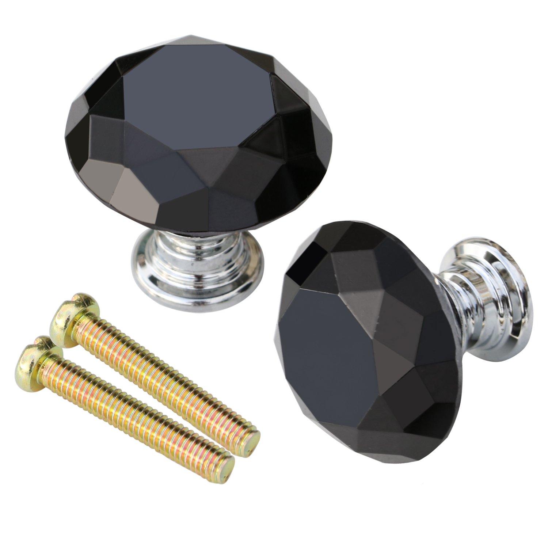 Trixes 2 Schwarze Griffe für Glastüren Oder Schubladen im Diamant ...