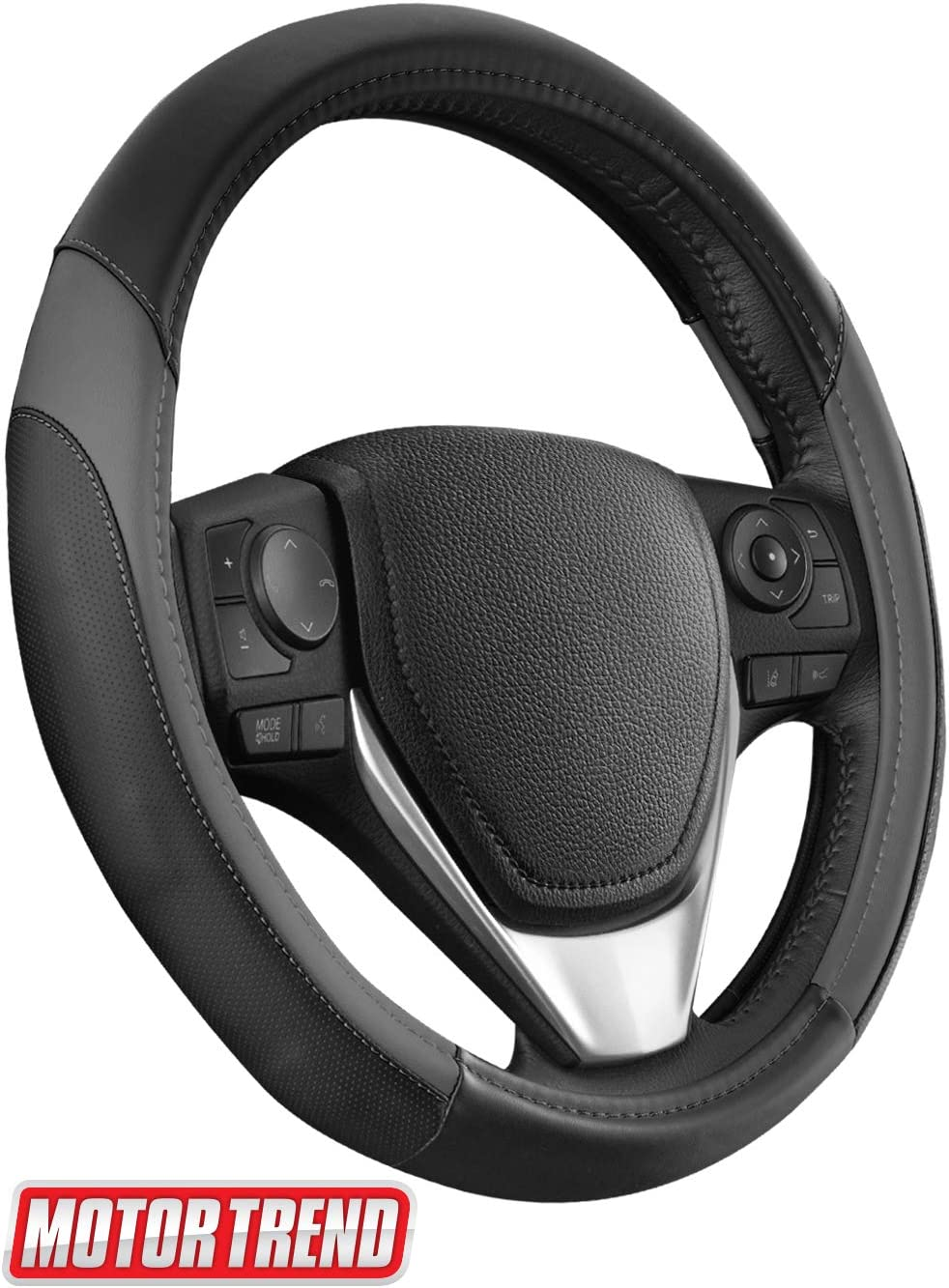 Motor Trend SW-814 Dark Gray + Black Sport Drive Perforated Leather Steering Wheel Cover with Contrast Stitching-Universal Fit for Standard Sizes 14.5 15 15.5 inches
