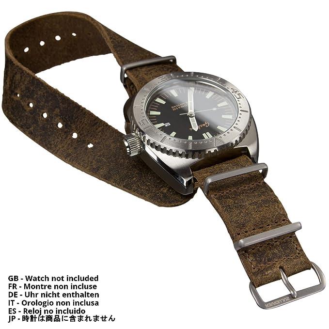 Correa del reloj ZULUDIVER cuero genuino NATO Marrón 22mm: Amazon.es: Relojes