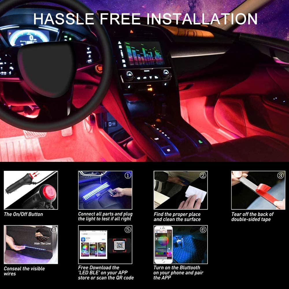 OtooKing Car LED Strip Lights 4pcs 48 LED App Controller Interior Lights Multi Color Music Car Strip Light Under Dash Lighting Kit for iPhone Android Smart Phone.
