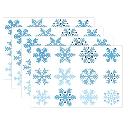 Amazon com: WellLee Various Blue Snowflake Placemat Set Polyester