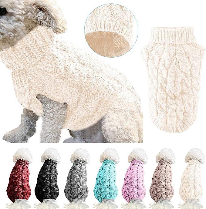 Petyoung Hundepullover Weste Gestrickte H/äkelhunde Winterpullover Hund Welpenkleidung Weiche Warme Pullover Strickwaren f/ür Kleine Mittelhunde