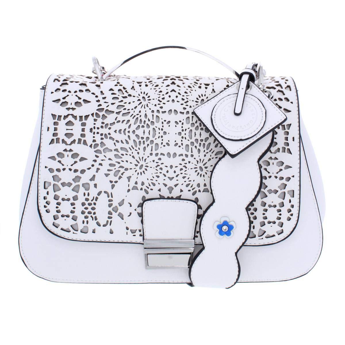 Catherine Malandrino Womens Lola Faux Leather Satchel Handbag White Medium