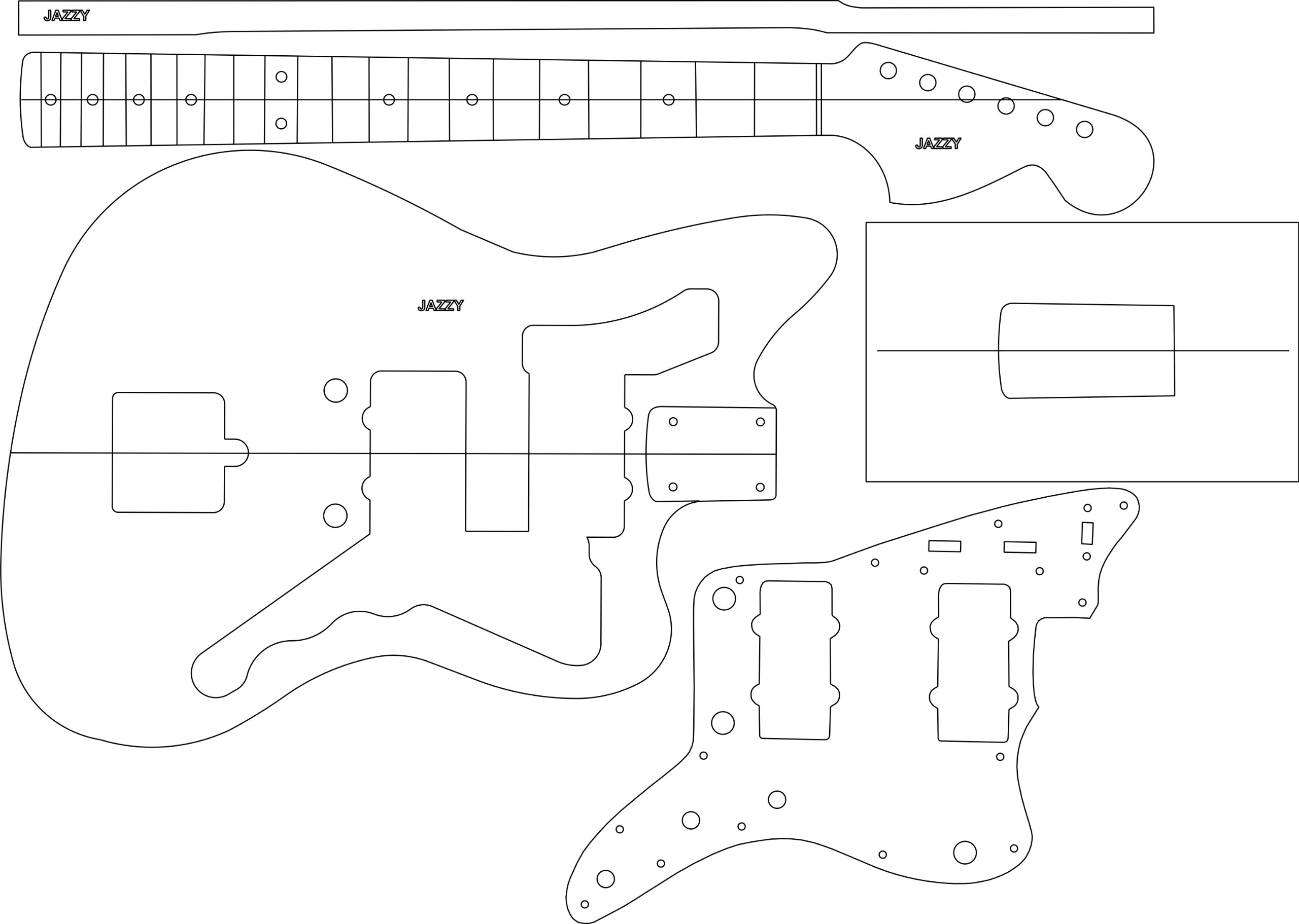 Electric Guitar Routing Template - Jazzy