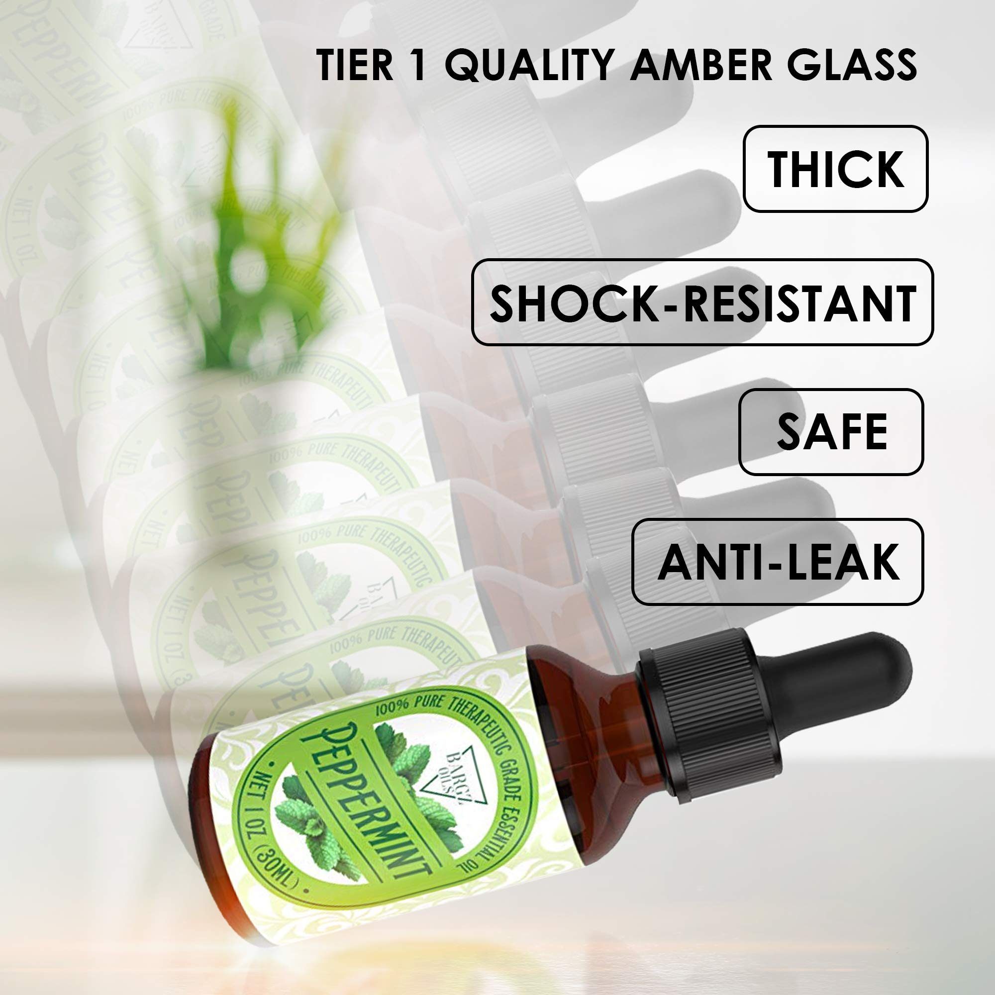 1oz Peppermint Essential Oil [RELAXING SCENT] - Glass Amber Bottle with DropperOrganic Pure Therapeutic French for Diffuser, Aromatherapy, Headache, Pain, Sleep-Perfect For Candles & Massage