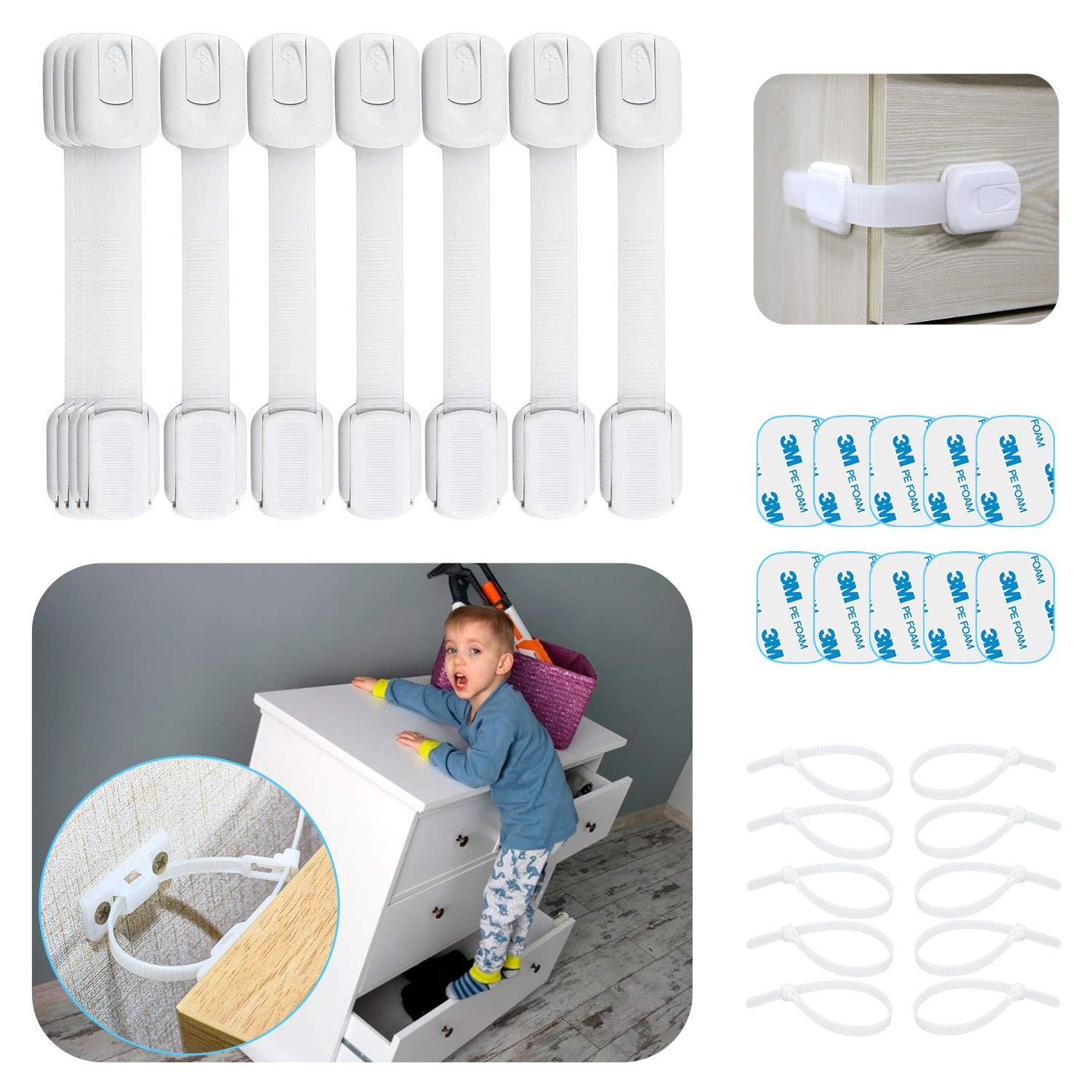 Cabinet Locks for Babies - 30 Pcs Baby Proofing Kit, 10 Child Safety Cabinet Locks with 10 Extra 3M Adhesives, Multi-Purpose for Kitchen, Toilet, 10 Furniture Straps & Anchors for Dresser, Bookshelf