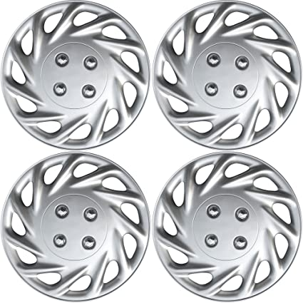 Wheel Covers 17in Hub Caps Silver Rim Cover Snap On Hubcap Car Accessories for 17 inch Wheels Set of 4 17 inch Hubcaps Best for 2014-2018 Nissan Rogue - Auto Tire Replacement Exterior Cap