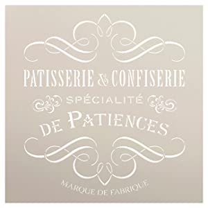 Vintage French Bakery Stencil by StudioR12 | Patisserie and Confiseri Word Art - Reusable Mylar Template | For Painting Wood Signs | Chalk Paint Furniture Stenciling Large Sizes Available- Select Size