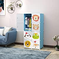 Keshav International 8 Door Plastic Sheet Wardrobe Storage Rack Closest Organizer for Clothes Kids Living Room Bedroom Small Accessories