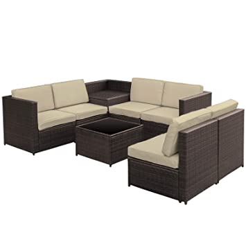 Fantastic Outsunny 8 Pcs Rattan Garden Furniture Patio Sofa And Table Set With Cushions 6 Seater Corner Wicker Seat Brown Andrewgaddart Wooden Chair Designs For Living Room Andrewgaddartcom