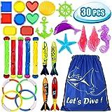 Toypedo Duikspeelgoed, onderwater, zwemmen, duiken, zwembad, speelgoed, ringen, 3 stuks algen, duiksticks 4 stuks en 6 stuks onder waterschatten cadeauset classic style