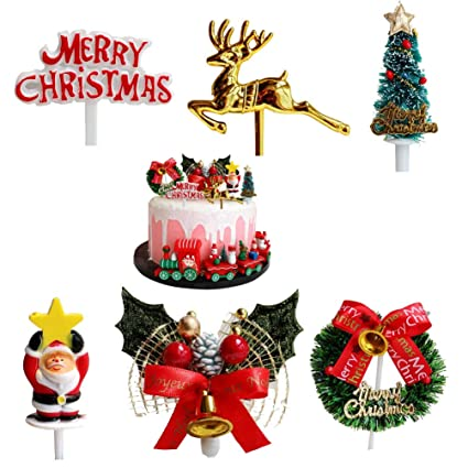 Christmas Cake Toppers.Christmas Cake Toppers Santa Deer Star Tree Bell Garland Festive Stand Up Muffin Cupcake Xmas Cake Toppers Party Table Cake Edible Birthday Wedding