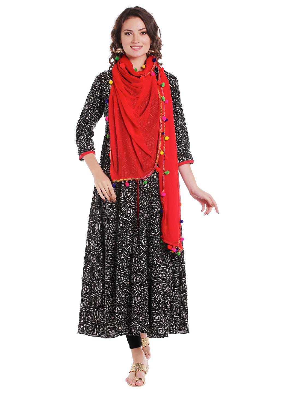 Dupatta Bazaar Woman's Red Chiffon Dupatta with Multicoloured Pompom by Dupatta Bazaar (Image #5)