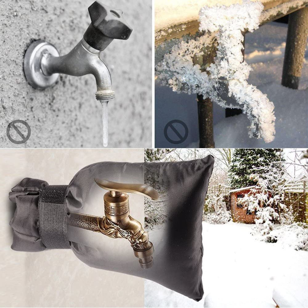 Lifreer Outside Tap Covers for Winter Black Large Size Outdoor Tap Protector from Frost Thicken Waterproof Insulated Faucet Covers for Garden Garden Lawn Faucets and Yard Hydrant