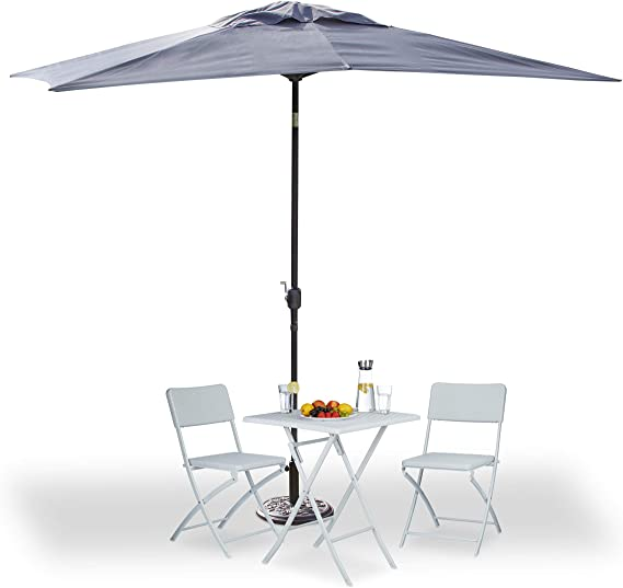 Relaxdays, Gris, sombrilla jardín Rectangular reclinable con manivela y sin pie, 200 x 300 cm: Amazon.es: Jardín
