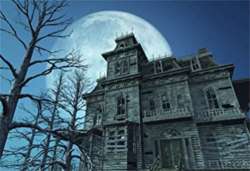 9x6ft Old Aged Haunted Ancient House Backdrop Holiday Halloween Night Shabby Mystical Chinese Style Residence Photography Background Photo Studio Props Vinyl Wallpaper Photo Studio Props