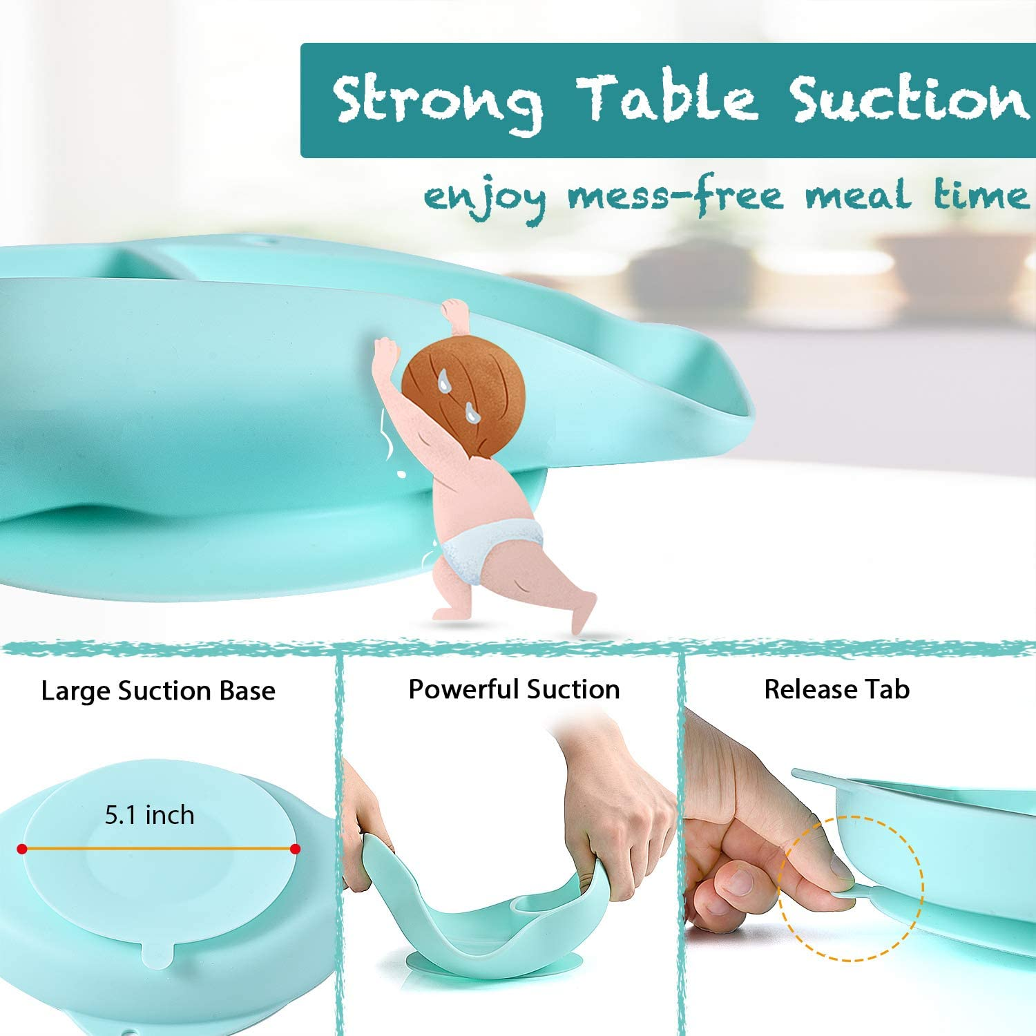 YiWeel Non Slip Toddler Divided Placemat Self Feeding Training Divided Plate Dish and Bowl for Baby and Toddler Baby Silicone Suction Plate