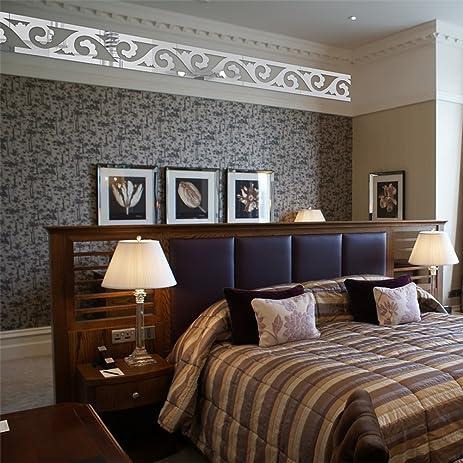 Elegant Scroll Grass Pattern 3d Acrylic Mirror Wall Border Sticker Decor  Mural Living Room Bedroom Waist