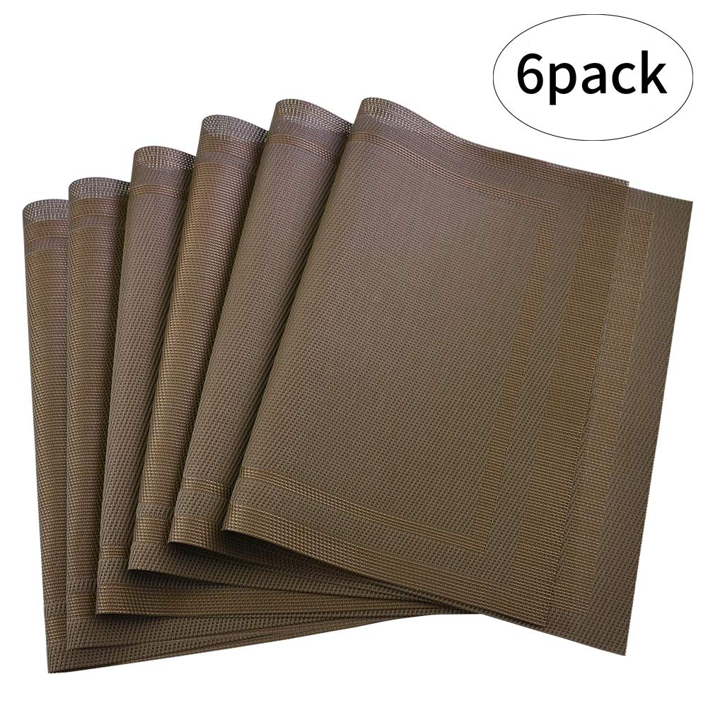 Orangehome Set of 6 Placemats,Placemats for Dining Table,Heat-resistant Placemats, Stain Resistant Washable PVC Table Mats,Kitchen Table mats (Brown-1)