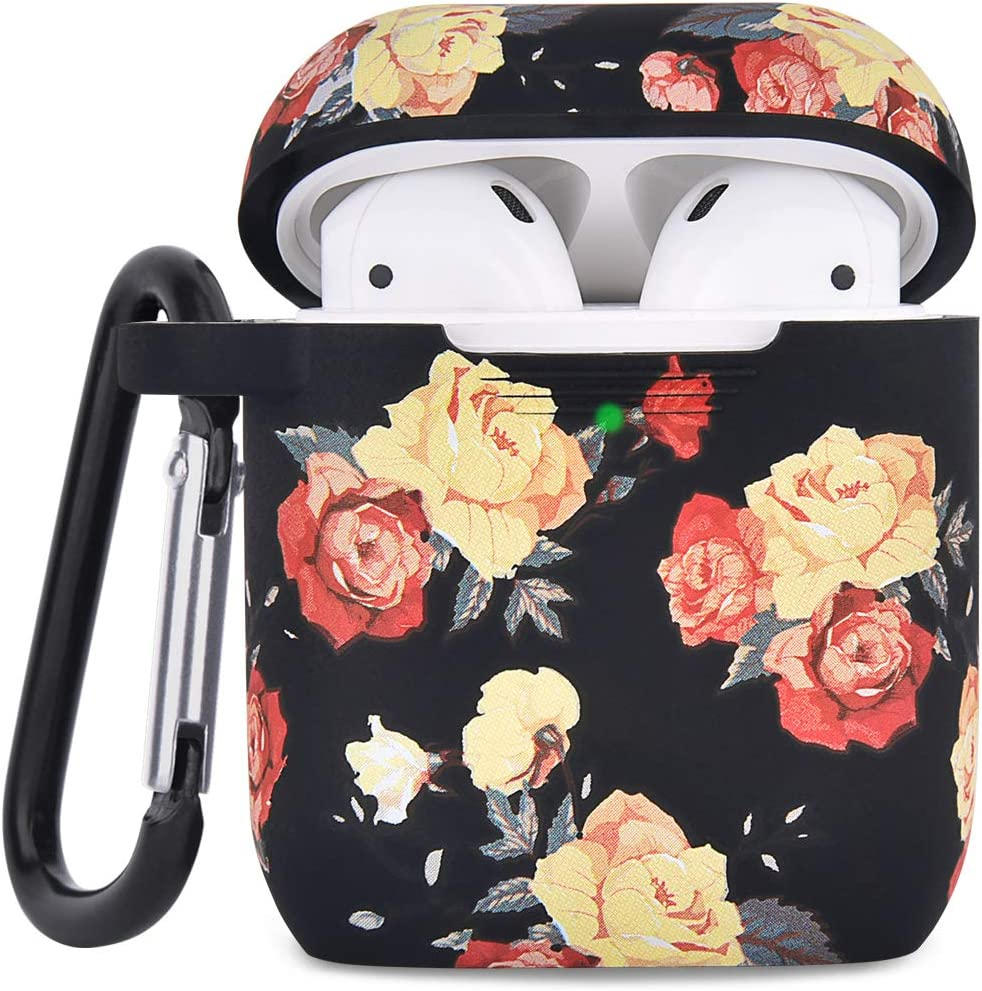 Airpod Case AIRSPO Airpods Case Cover for Apple AirPods 2&1 Cute Airpod Case for Girls Silicone Protective Skin Airpods Accessories with Keychain (Black Rose)