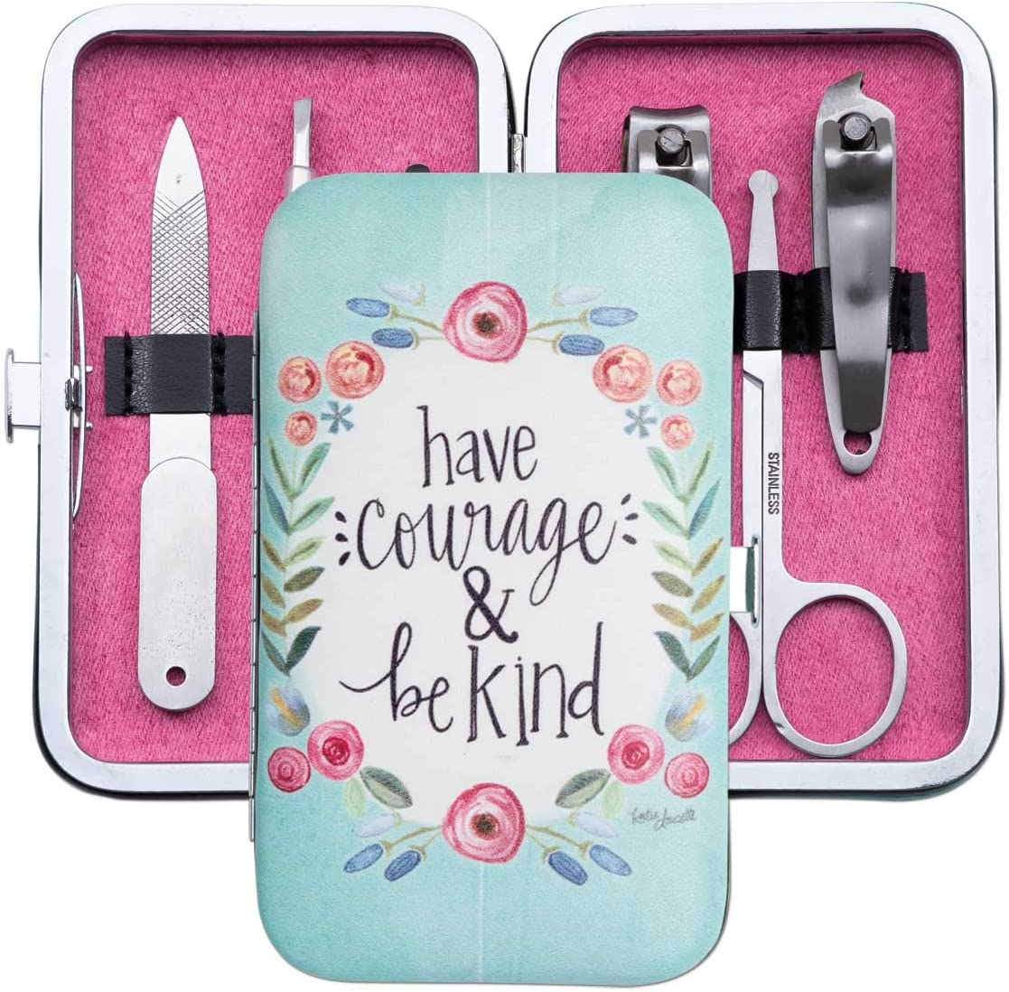 Brownlow Gifts Simple Inspirations 6-Piece Stainless Steel Manicure Set with Case, Have Courage & Be Kind