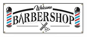 Amazon.com: 2 ft x 6 ft barbería Banner de bienvenida signo ...