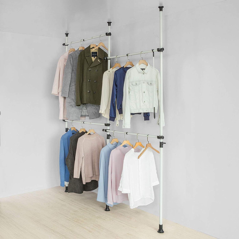 Sobuy kls03 w kleiderst nder garderobenst nder mit 4 kleiderstangen teleskop garderoben system - Kleiderstangen systeme ...