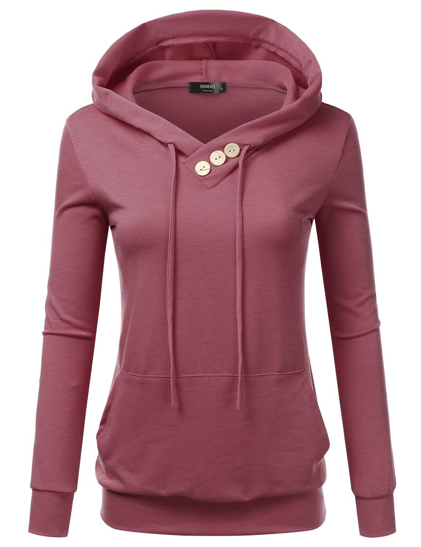 NINEXIS Women's Long Sleeve Button V-Neck Sweatshirts Pullover Hoodie Mauve 2XL