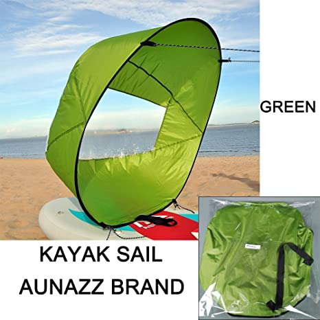 AUNAZZ/kayak Downwind Kit 46 inches Kayak Canoe Accessories, Easy Setup &  Deploys Quickly, Compact & Portable Green