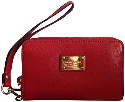 b92da2b381b211 Michael Kors Essential Zip Wallet for Iphone Red Saffiano: Amazon.co ...