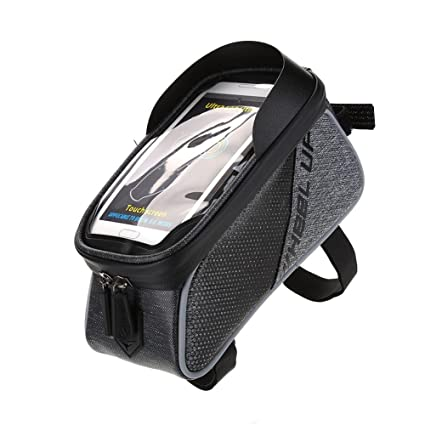 0b5610d35 Dilwe Bicycle Handlebar Bag Waterproof Touch Screen Cellphone Frame Bike  Front Tube Bag Bike Accessory (#-Black): Amazon.in: Sports, Fitness &  Outdoors