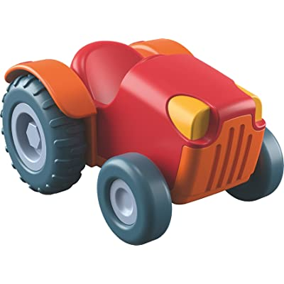 HABA Little Friends Red Tractor - Chunky Plastic Farm Vehicle with Momentum Motor for Ages 3+: Toys & Games