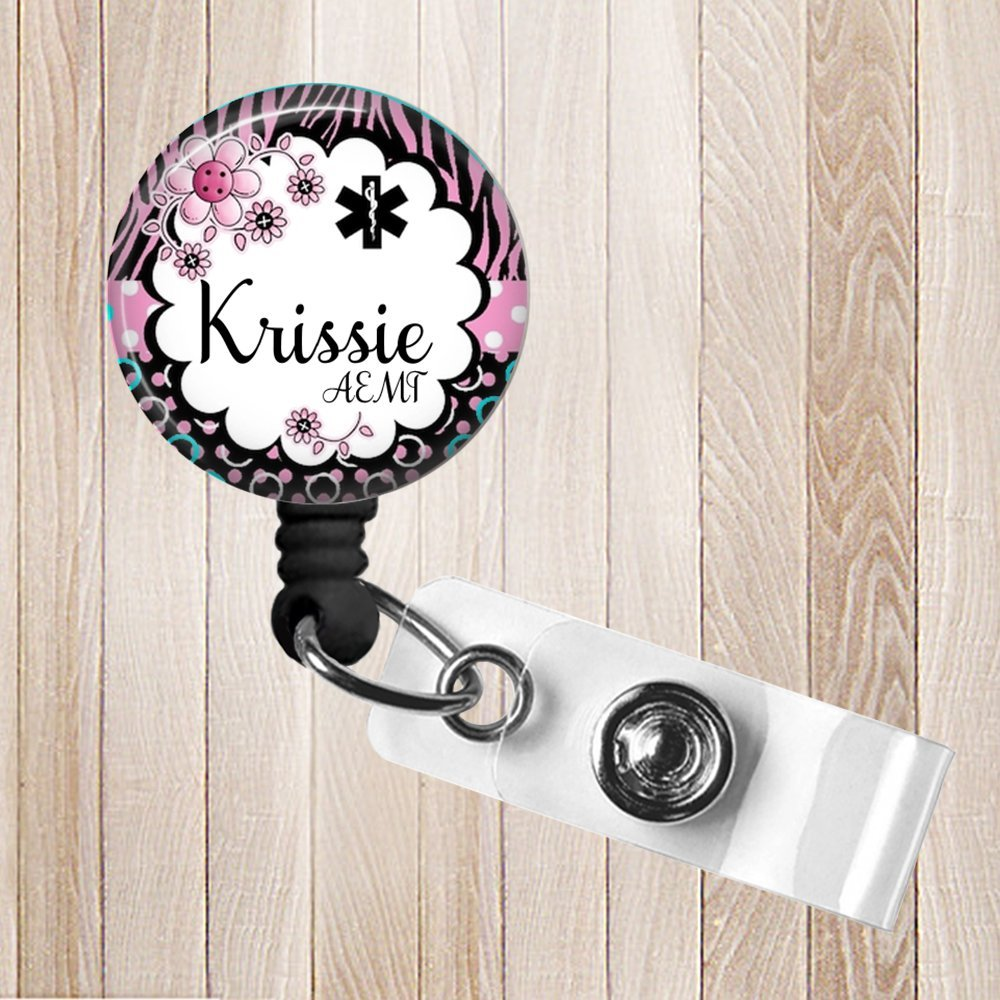 Pink Star of Life Personalized Retractable Badge Reel, ID Holder