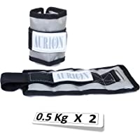 AURION 0.5 Kg X 2 Grey Wrist/Ankle Weights Home Gym Weight Bands(Grey)