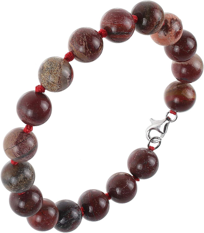 Pulsera de mujer de plata de ley 925 rodiada con ágata rojo marrón verde 21 cm de largo pulsera de piedras preciosas