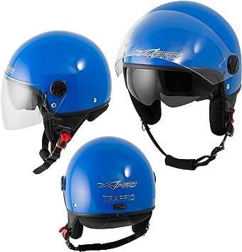 A Pro Motorradhelm Motorrad Roller Jet Helm Innensonnenblende Viser Blau L Auto