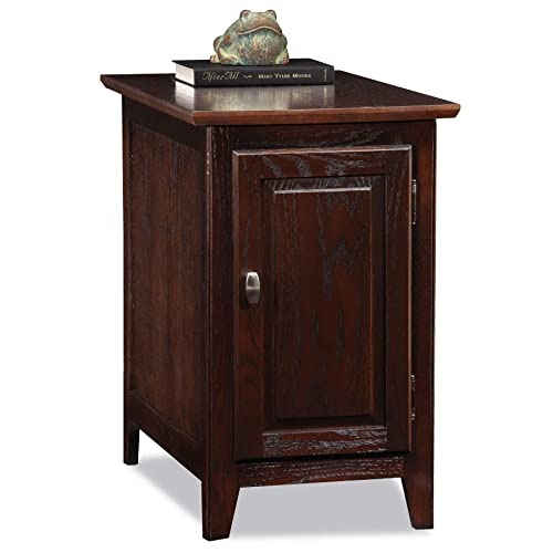Leick Home Storage Chairside End Table, Chocolate Oak