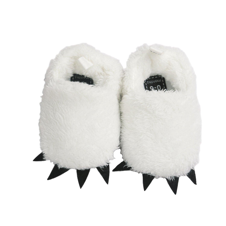 Vanbuy Baby Boys Girls Shoes Bear Paw Animal Slippers Boots Newborn Infant Crib Shoes WB28-White-L