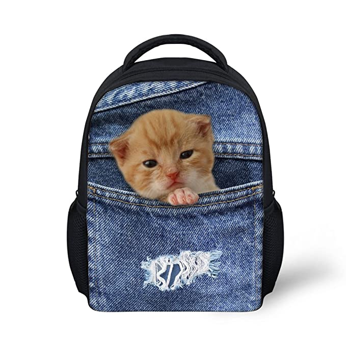 1657f0d055 Showudesigns Blue Mini Animal Denim Cat School Bag Small Child Bookbag  Polyester