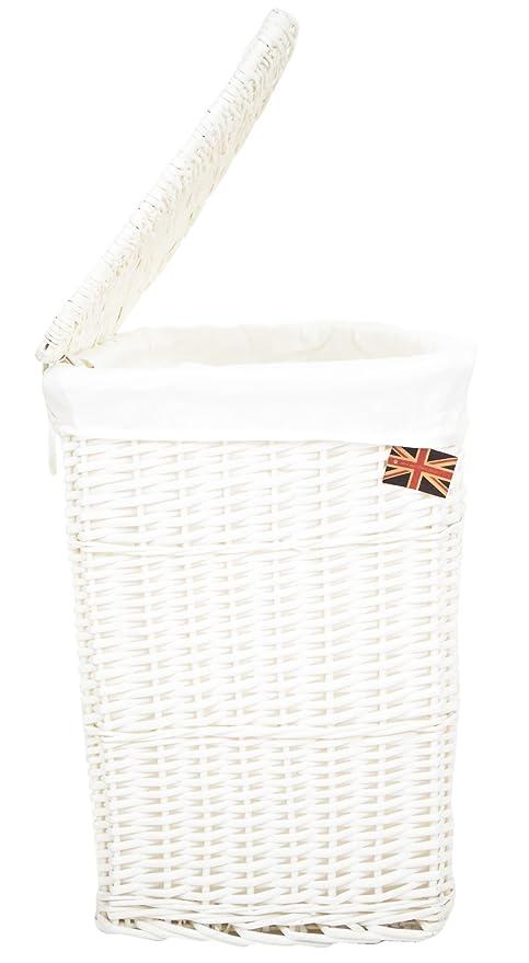 east2eden White Lidded Wicker Corner Linen Laundry Bin Storage Basket with Pure White Liner in Choice  sc 1 st  Amazon UK & east2eden White Lidded Wicker Corner Linen Laundry Bin Storage ...