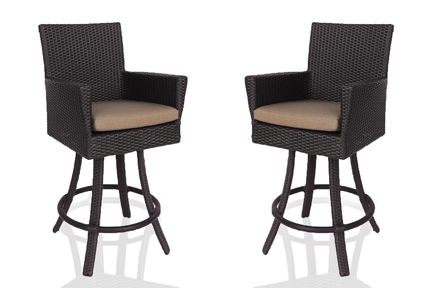 Amazoncom Patio Bar Stools With Back All Weather Outdoor Wicker