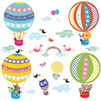 DECOWALL DS-8020 Hot Air Balloon Animals Kids Wall Stickers Wall Decals Peel and Stick Removable Wall Stickers for Kids Nursery Bedroom Living Room (Small)