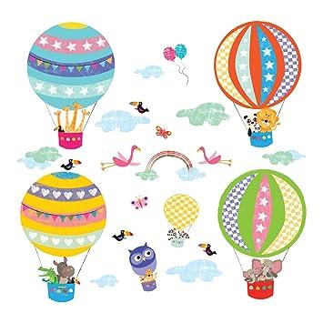 Decowall DA-1406B Tierhei/ßluftballons Hei/ßluftballons Flugzeuge Tiere Wandtattoo Wandsticker Wandaufkleber Wanddeko f/ür Wohnzimmer Schlafzimmer Kinderzimmer