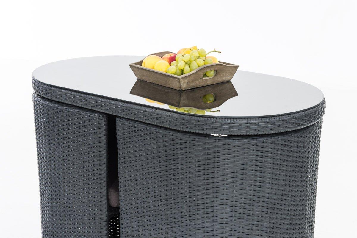 CLP Poly-Rattan Balkonmöbel Sitzgruppe ALENA, 2 Personen, Aluminium ...