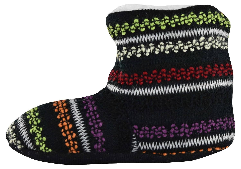 J.Ann Girls Cozy Fleece Sherpa Lined 3D Strick Slipper Bootie with Non Slip Sole