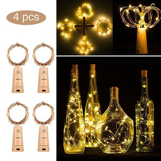 Luces LED para botella con corcho, 2 m, 20 luces LED de color ...