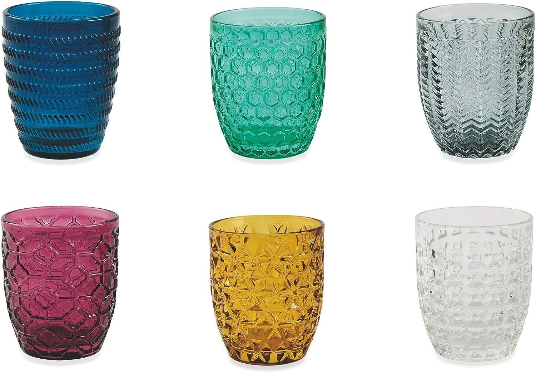 Villa d 'Este Home Tivoli Geometrie Juego 6 Vasos Agua, Multicolor