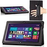 Lenovo Thinkpad Tablet 2 ケース - ATiC Lenovo Thinkpad Tablet 2 10.1 インチタブレット専用薄型スタンドケース。Black (手ホルダーが付き, タッチペン挿し付き, オートスリープ機能付き)
