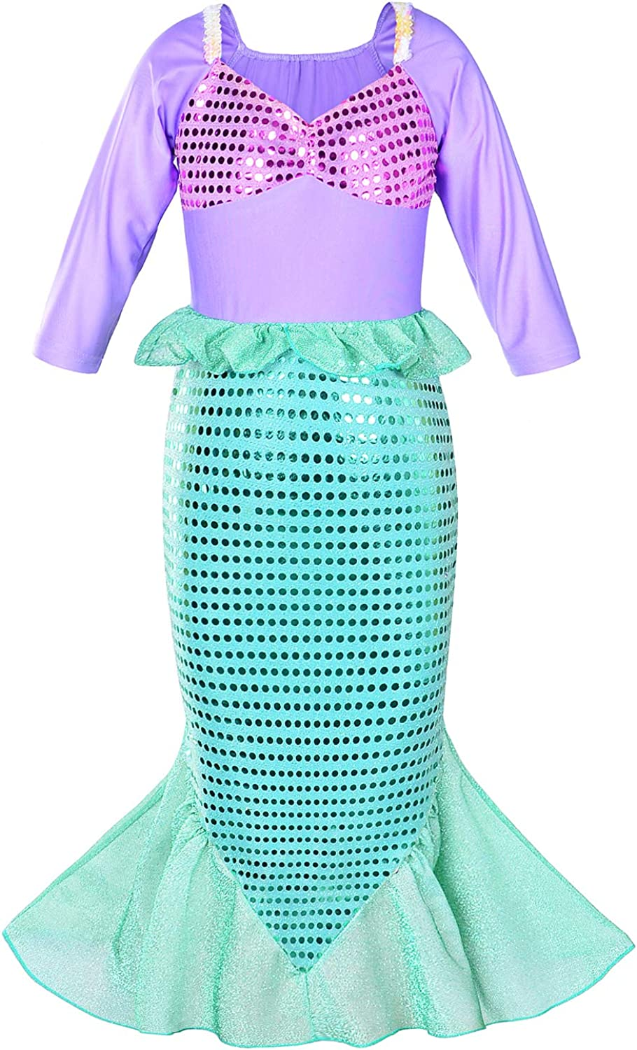 Party Chili Little Girls Mermaid Costume Princess Dress Up for Birthday with Accessories Crown+Wand 3-10 Years